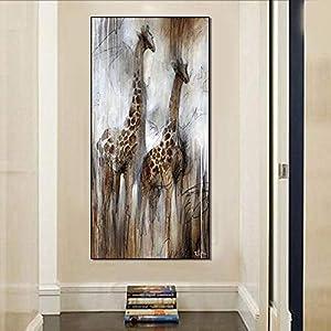 Leinwanddruck,Malerei Auf Leinwand Wandkunst,Giraffe Tier Ölgemälde Stil Leinwanddruck Poster Moderne Abstrakte Wandkunst Bild Pop Kunstwerk Für Wohnzimmer Korridor Home Wanddekor,30 × 60Cm Ungera
