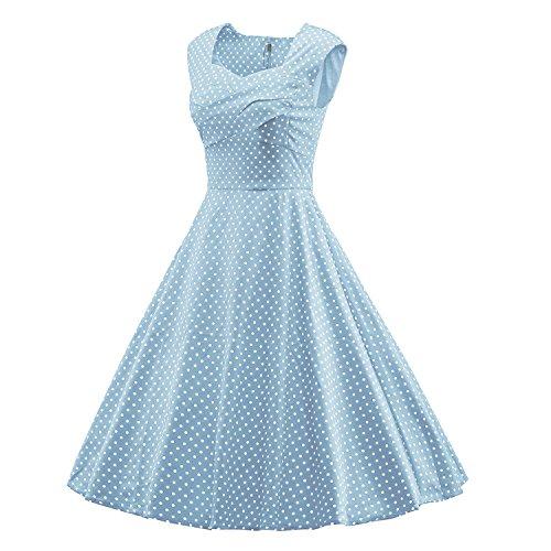 LUOUSE Damen Audrey Hepburn 50s Retro Vintage Bubble Skirt Rockabilly Swing Evening Kleider V066-DotLightBlue