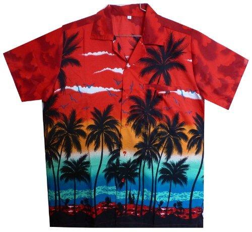 Original king kameha | funky hawaii camicia | uomo | xs–6x l | breve braccio | front della stampa del | hawaii | spiaggia palme mare | rosso rot large