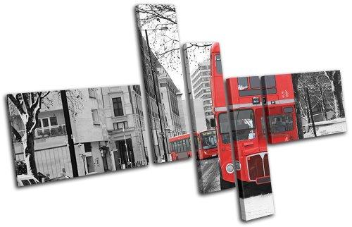Bold Bloc Design - Double Decker Bus London Red City - 225x150cm Leinwand Kunstdruck Box gerahmte Bild Wand hängen - handgefertigt In Großbritannien - gerahmt und bereit zum Aufhängen - Canvas Art Print (Bus 225)