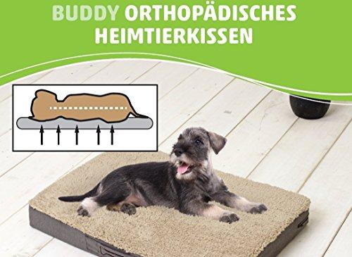 SUN GARDEN Pet Collection Buddy - orthopädisches Hundekissen Tierkissen viskoelastischer Schaumstoff Größen: M ca. 79x60x10cm Farbe Braun