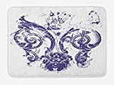 Fleur De Lis Bath Mat, Digital Grunge Lily Emperor Flag Victorian Kingdom Imperial Theme Print, Plush Bathroom Decor Mat with Non Slip Backing, 23.6 W X 15.7 W Inches, Purple White