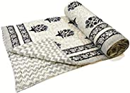 BLOCKS OF INDIA Hand Block Printed Cotton Voile Single Size Jaipuri Malmal Quilt for Light Winters/A.C (60x90
