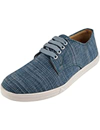 Uniqas Designs Yuva Khadi Men's Blue Pure Khadi Casual Sneakers Shoes