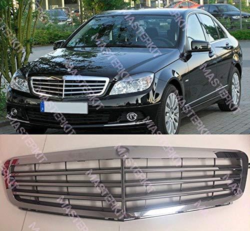 FidgetGear Mercedes Benz 08-13 W204 C-Class SL C200 C300 Elegance Parrilla cromada de 3 Tiras