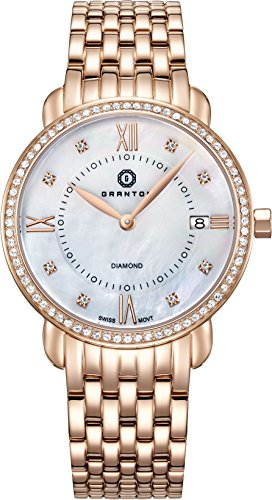 Granton Damen-Armbanduhr COLLECTION MARQUISE Analog Quarz Farbe weiß Rosa gold, 36mm damenuhr