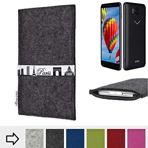 flat.design für Vestel V3 5030 Schutzhülle Handy Case Skyline mit Webband Paris - Maßanfertigung der Schutztasche Handy Hülle aus 100% Wollfilz (anthrazit) für Vestel V3 5030
