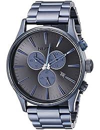 Nixon Sentry Chrono Deep Blue - Reloj de cuarzo para hombre, correa de acero inoxidable color azul
