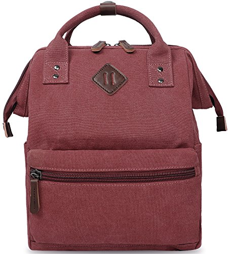 Oflamn Rucksack Damen Herren, Vintage Daypack Laptopfach für Uni, Arbeit, Reise (1.0 rot)