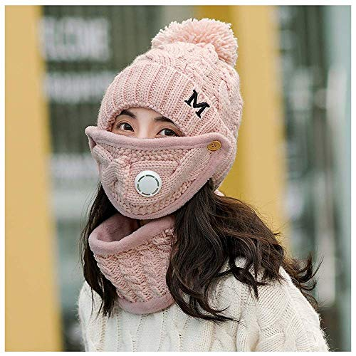 LIXUE Chapeau femelle hiver version coréenne de bonnet épais en tricot + masque + écharpe coupe-vent 3 ensembles d'automne et d'hiver cyclisme protection auditive, masque détachable un bonnet polyvale