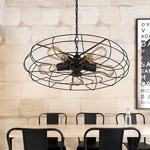 BayCheer hierro forjado novedad LOFT ventilador industrial luz cerca del techo negro con 5 Flamimige...