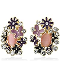 Bling Jewelry Purple Flower Simulated Pink Cats Eye Clip Ons Gold Plated