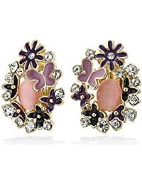 Bling Jewelry Esmalte stud Florvioleta Ojo de Gato Clip arete de oro Tono