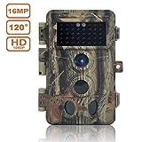Wildkamera Fotofalle 16MP 1080P HD Jagdkamera Beutekameras, 120° Weitwinkel Vision und Infrarot 20m Nachtsicht, Wasserdichte IP66 Überwachungskamera 40 IR LED
