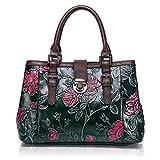 APHISONUK Designer Frauen Echtes Leder Handtasche Große Kapazität Damen Tragetaschen Geprägte Blume Umhängetasche
