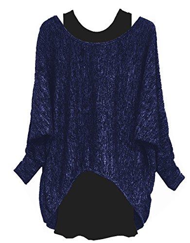Emma & Giovanni - Damen Langarmshirt/Pullover (2 Stück) (M/L, Blau)