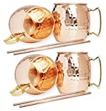 Best Moscow Mule Mugs - Hammered Moscow Mule Copper Mugs set 18-Ounce Review