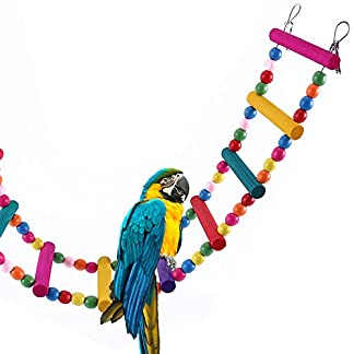 Bird Ladder Toy 12-Step Colorful Bird Climbing Toy Cage Stand for Parrot Budgie 6