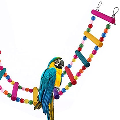 Bird Ladder Toy 12-Step Colorful Bird Climbing Toy Cage Stand for Parrot Budgie 1