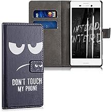 kwmobile Funda para Sony Xperia M4 Aqua - Wallet Case plegable de cuero sintético - Cover con tapa tarjetero y soporte Diseño Don't touch my Phone en blanco negro