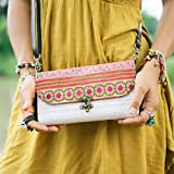 Changnoi Fair Trade Sling Purse/Wallet for Women, Hmong Embroidered Purse, Boho Sling Purse, Hippie Wallet with Removeable Strap