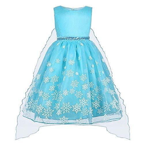Vicloon Kinderkleider Mädchen Tutu Sommer Eiskönigin Prinzessin Kostüm Festlich Kleider lang Baumwolle Blau,1pcs Elsa Kleid,3-4 Jahre, Größe ()