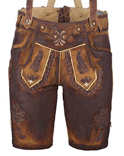 kurze Herren Trachten-Lederhose aus Leder mit Stickerei, used-look (gewachst), braun, Größe 58