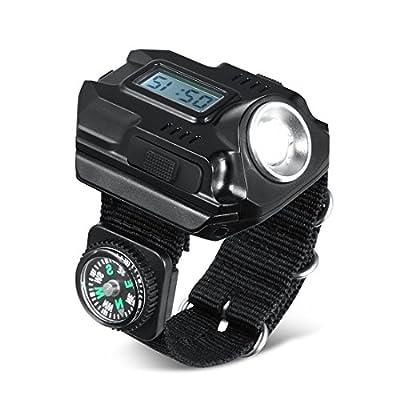 Vimmor Tactical Bright LED 800 lm Anzeige USB Wiederaufladbare 5 W Handgelenk LED Licht Armbanduhr Taschenlampe Taschenlampe für Laufen Radfahren, Berg, Camping, Wandern, Angeln Outdoor Aktivitäten