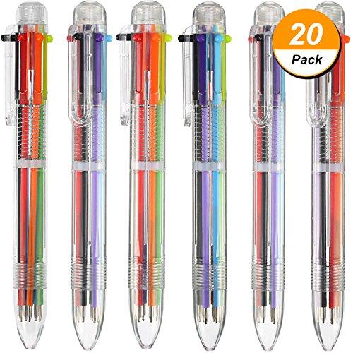 20 Pezzi 6-in-1 Penne a Sfera Retrattili 6-Colore Penna a Sfera Multicolore Penne per Ufficio Scuola Forniture Studenti Bambini Regalo