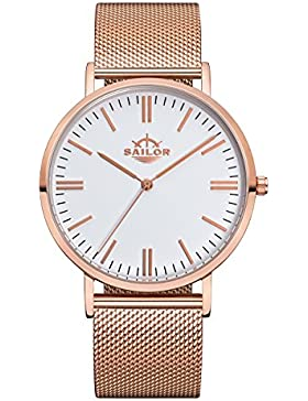 Sailor Armbanduhr Classic Style rosègold mit Milanaise Armband, Farbe Ziffernblatt:weiß, Durchmesser:36mm