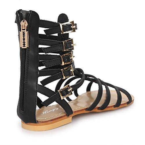 Sandales paltes Spartiates grandes Tailles pour femme Noir