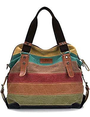 Aidonger da donna Retrò Vintage Tela Borsa a Tracolla Borsetta Shopper (Multicolore Mosaico-22)