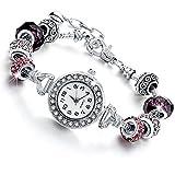 Orologio braccialetto da donna con cristalli - bracciale da donna con beads argento compatibile pandora - bead in vetro, cristalli e metallo - regolabile fino a 21 cm - quadrante decorato (Viola)