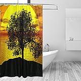 COOSUN Baum-Sonnenuntergang-Druck Duschvorhang, Polyester-Gewebe Duschvorhang, 66 x 72-inch 66x72 Mehrfarbig