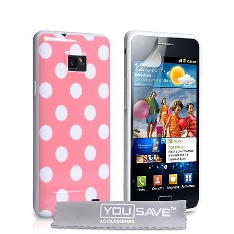 Coque Samsung Galaxy S2 Etui Rose Silicone Gel Élégant PoisHousse