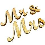 Allbusky Herr und Frau Zeichen Geschenk Hölzerne Buchstaben für Empfang Zeremonie Hochzeit Dekorationen Gegenwart (Mr & Mrs Gold)