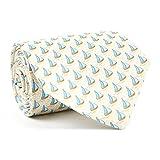 Davidoff Mens Luxury 100% Silk Tan Sailboat Patterned Slim Necktie - 22577