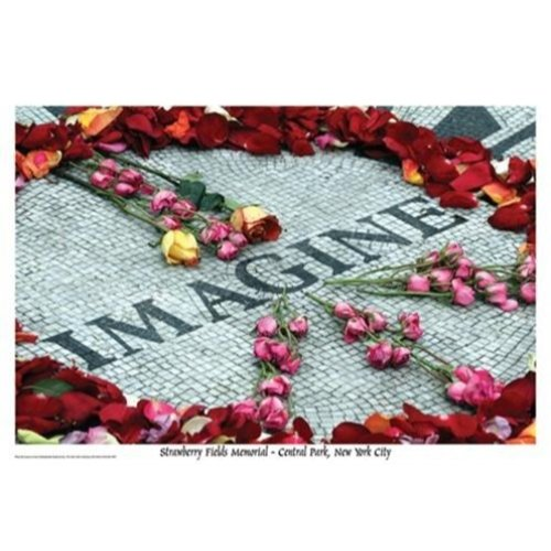 Imagine John Lennon Strawberry Fields Memorial – Central Park New York City von Laura Lo Forti 36 x 24 Kunstdruck Poster Wall Decor Foto The Beatles Rosen Peace Sign (Memorial Field)
