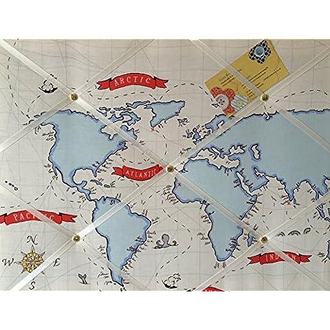 Medio 40x 30Michael Miller Out to Sea Nautical Map realizzata a mano tessuto avviso/Pin/Memo/scheda di memoria - Michael Miller Crema