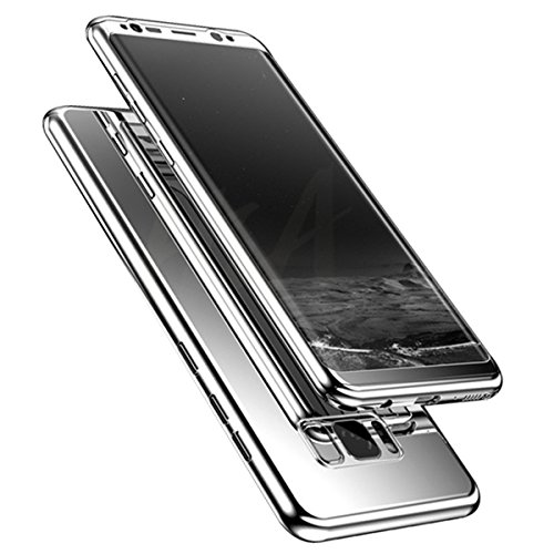 Adamark Samsung Galaxy S8/S8 Plus Case Cover 360 Degree Slim Shockproof Full Body Plating Hard Mirror Protective Case + Clear TPU Screen Protector