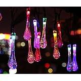 YOEEKU 6M Guirlande Lumineuses Solaire d'extérieur, 30 LEDs en Forme de Goutte d'eau, Décoration pour Jardin Noël Mariage Partie Halloween(Multicolore)