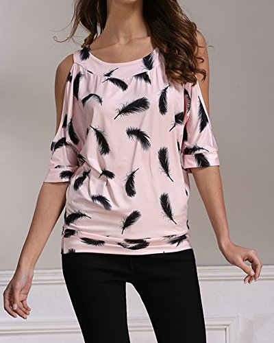 Donna Stampa Tondo Collare Camicia Senza Spalline Manica Corta Tops T-Shirt Pink