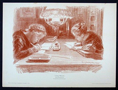 Ludwig Michalek Wien Jugendstil Original Lithographie Litho