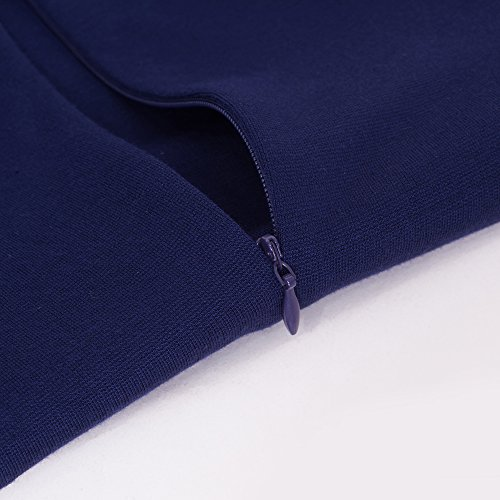 HOMEYEE femmes Vintage Stand col manches courtes moulante affaires crayon robe B430 Bleu foncé