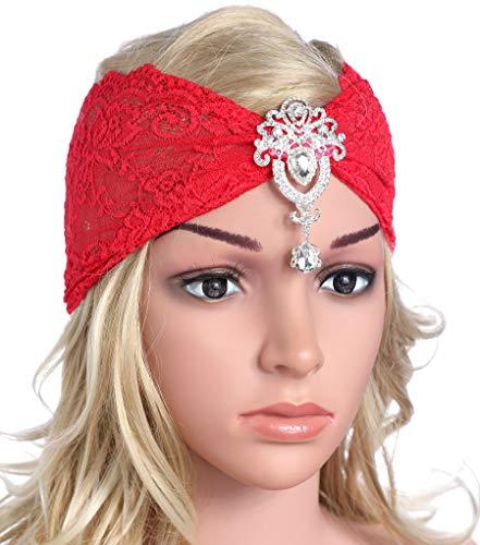 Coucoland Spitzen Haarband Damen Turban Hut mit Anhänger Kristall Brosche 1920s Stirnband Damen Exotisch Fasching Kostüm Accessoires (Rot)