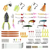 Runcl Fishing Lure Set, Fishing Bait Kits with Crankbaits, Spinnerbaits, Spinning Lures, Plastic Worms, Frogs, Sinkers, Hooks, Tackle Box for All Fishing Rigs (100pcs fishing lure set)