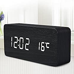 Generic Alarm Clock LED Wooden Time Temperature Week Calendar Display Function Digital Table Clock for Home Office with Sound Control White