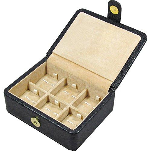 ECHTE SCHWARZ LEDER 6Manschettenknöpfe Box