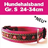 Hundehalsband pink mit Herzen HANDMADE