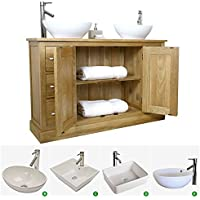 Solid Oak Double Vanity Unit With Basin B